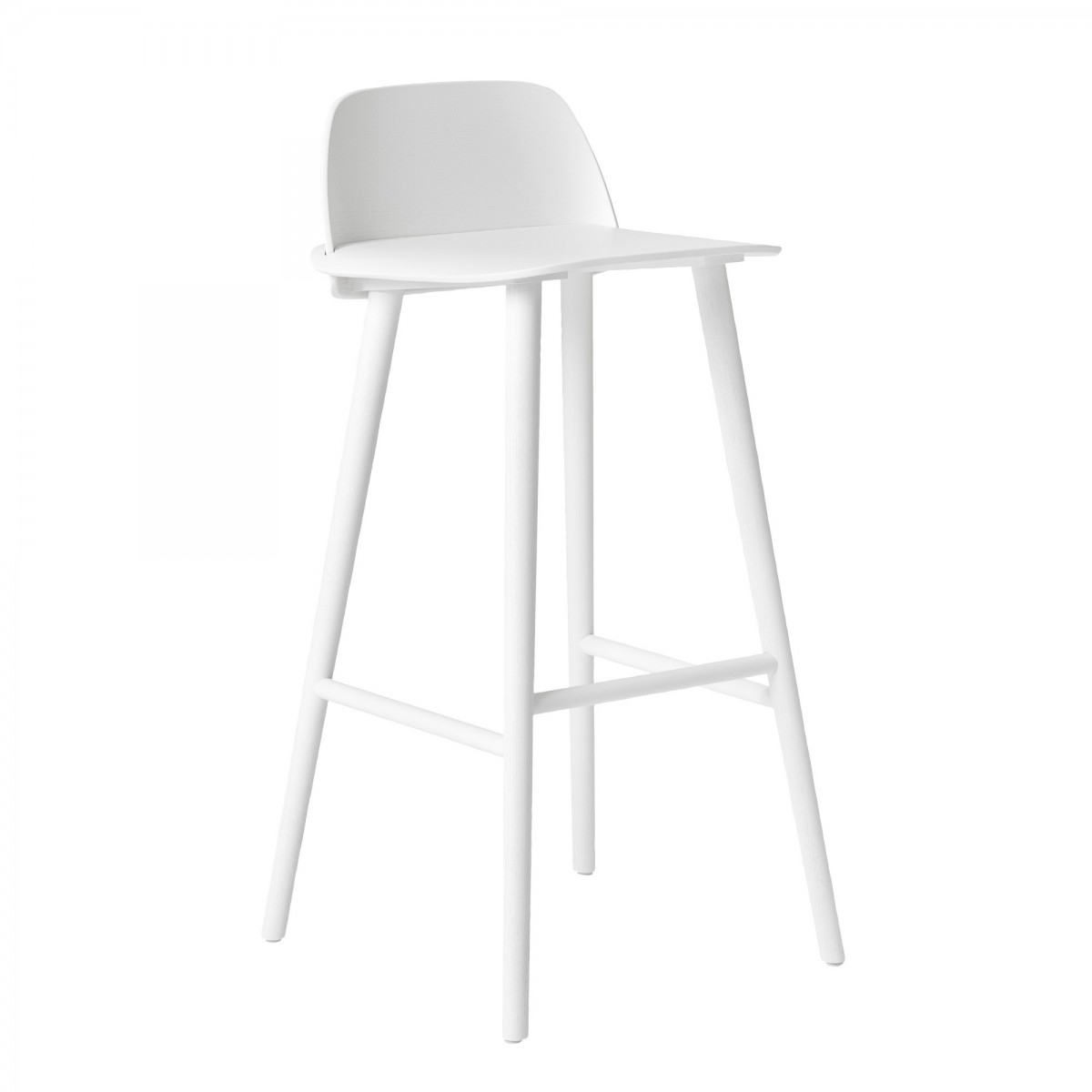 tabouret haut nerd blanc en ch ne teint muuto. Black Bedroom Furniture Sets. Home Design Ideas
