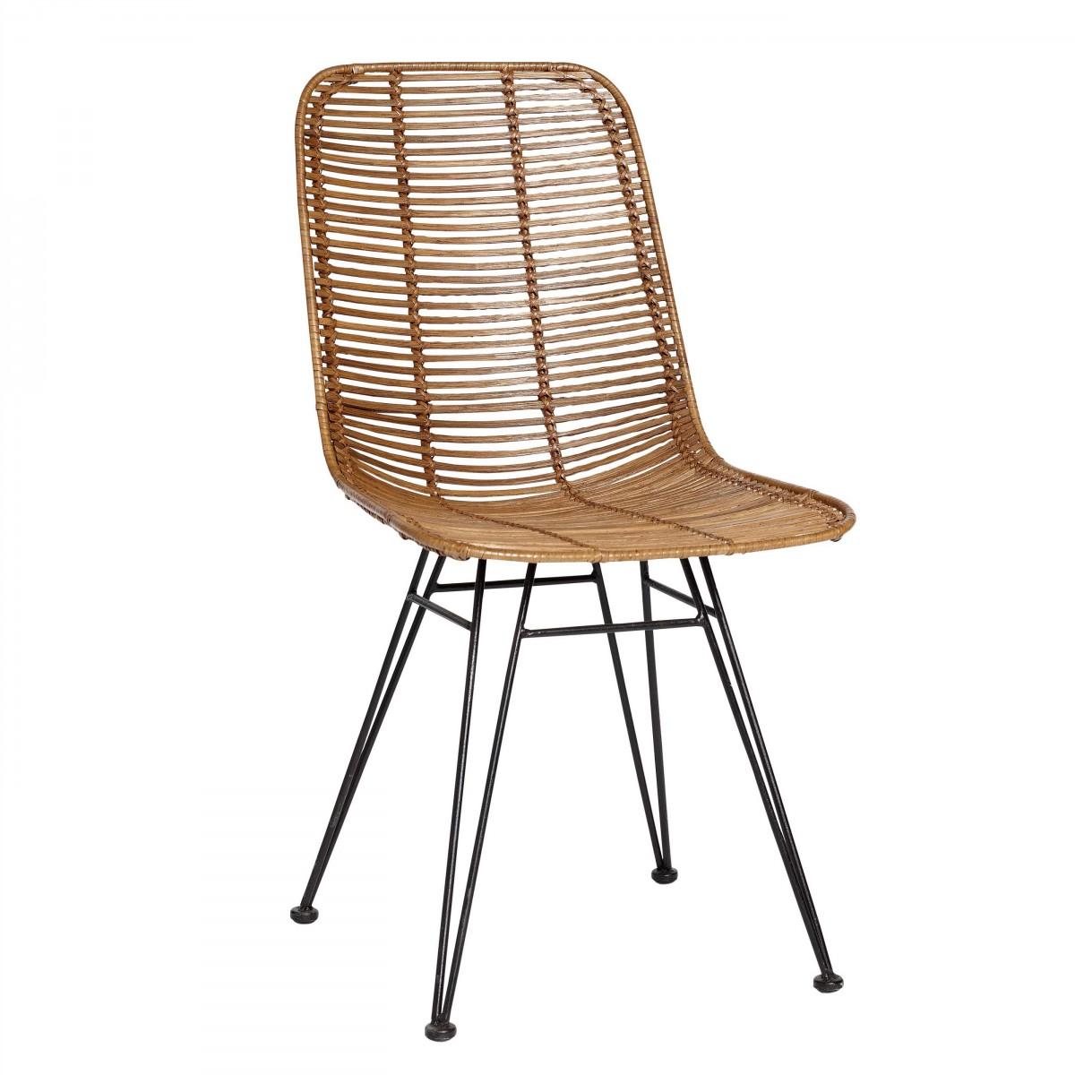 Chaise studio en rotin naturel et pieds m tal h bsch - Chaise en rotin vintage ...