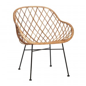 Armchair in cross natural rattan