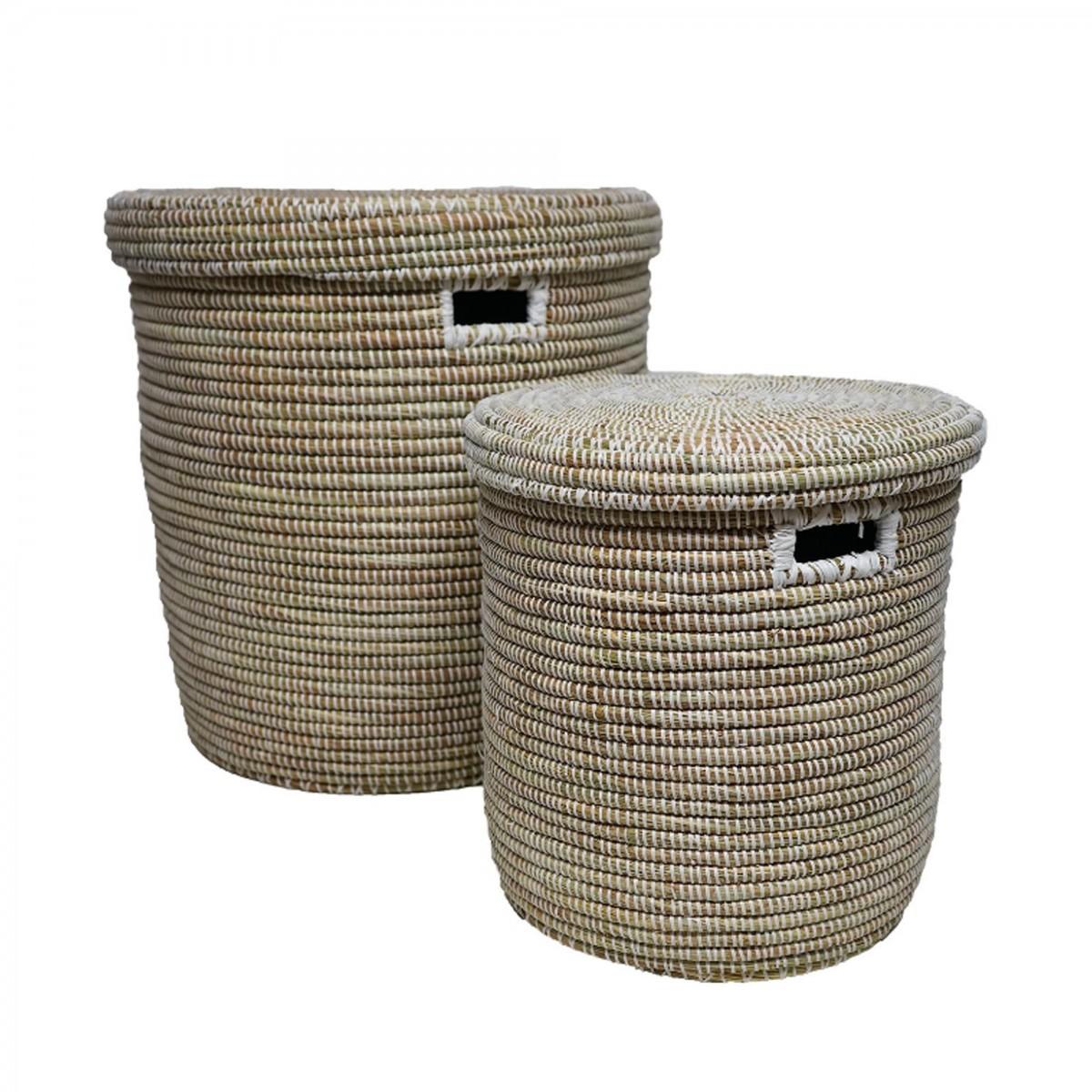 panier de rangement avec couvercle en paille et plastique recycl blanc ea deco. Black Bedroom Furniture Sets. Home Design Ideas
