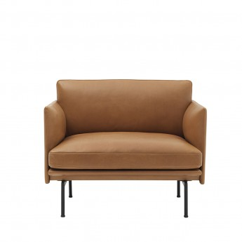 Fauteuil OUTLINE - Silk leather Cognac