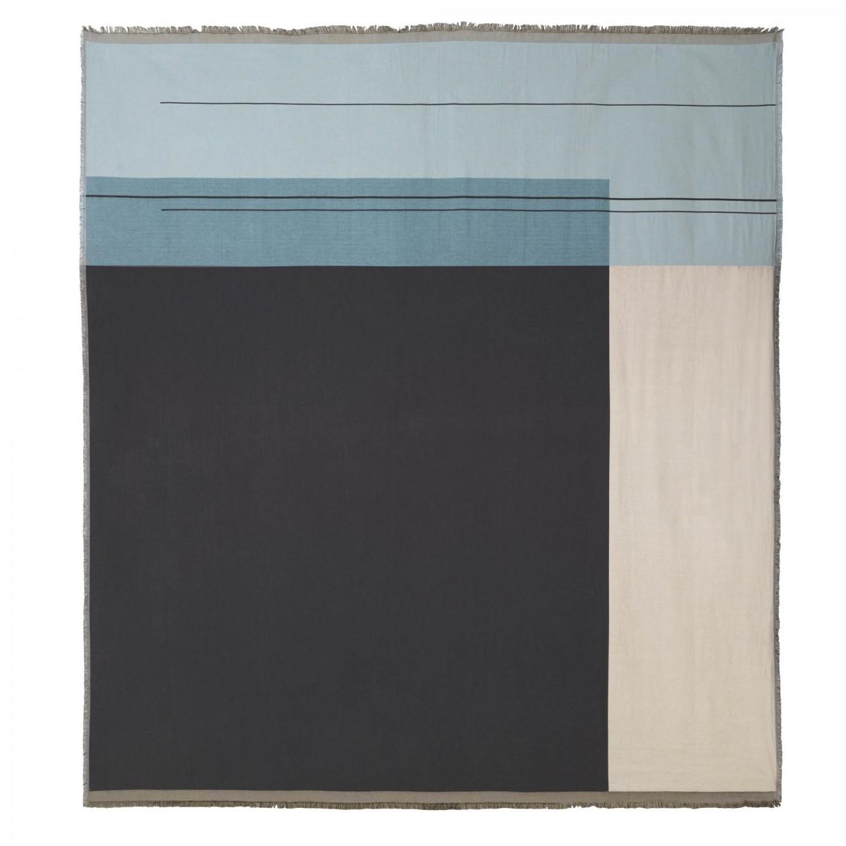 couverture de lit colour block bleu clair en coton ferm. Black Bedroom Furniture Sets. Home Design Ideas