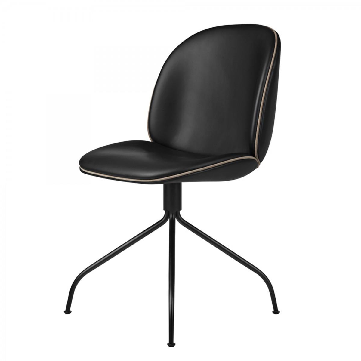 chaise beetle pivotante cuir noir gubi. Black Bedroom Furniture Sets. Home Design Ideas