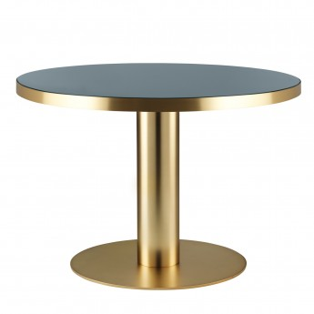 Table DINING 2.0 laiton ronde gris granite