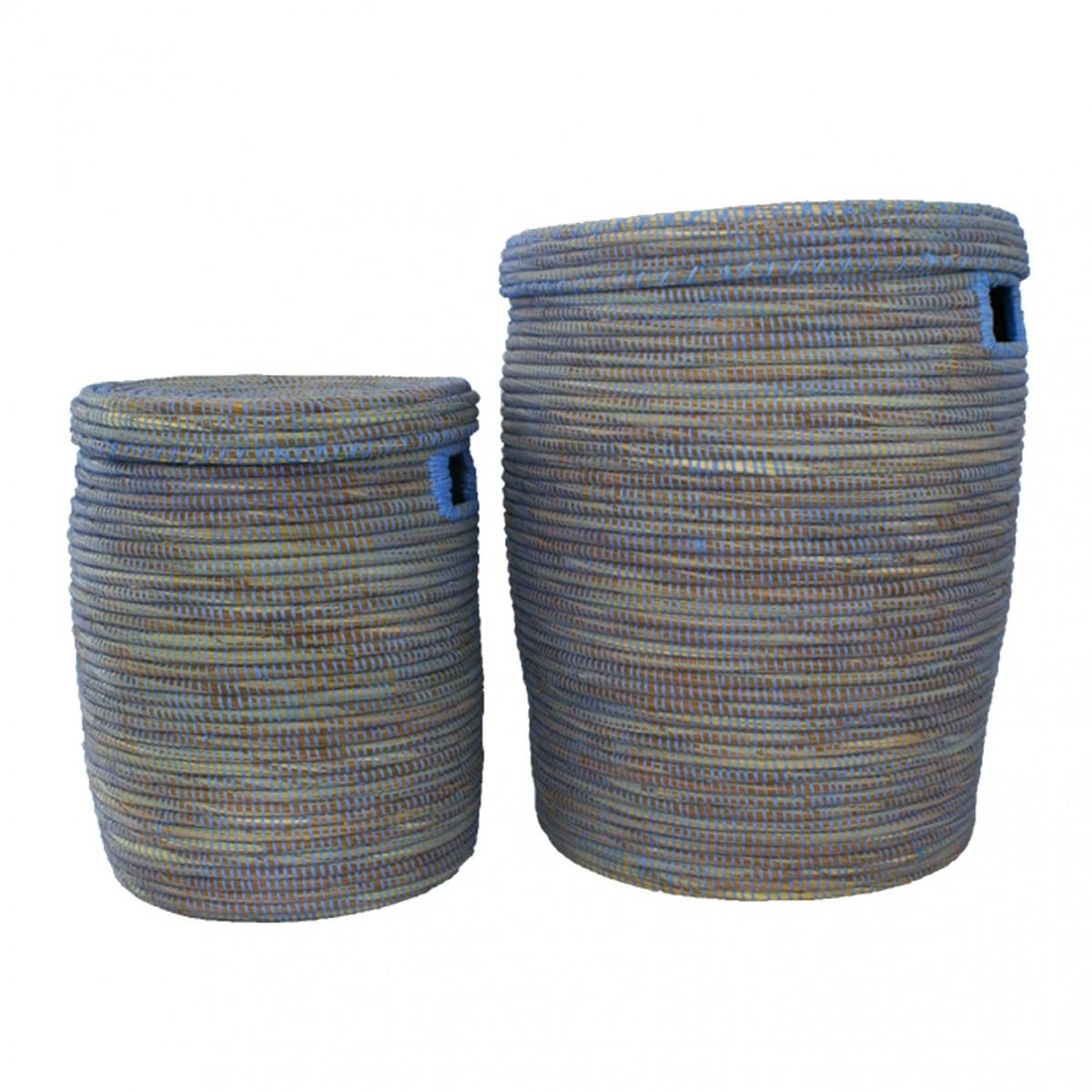 Panier de rangement avec couvercle en paille et plastique recycl ea deco - Panier en osier avec couvercle ...