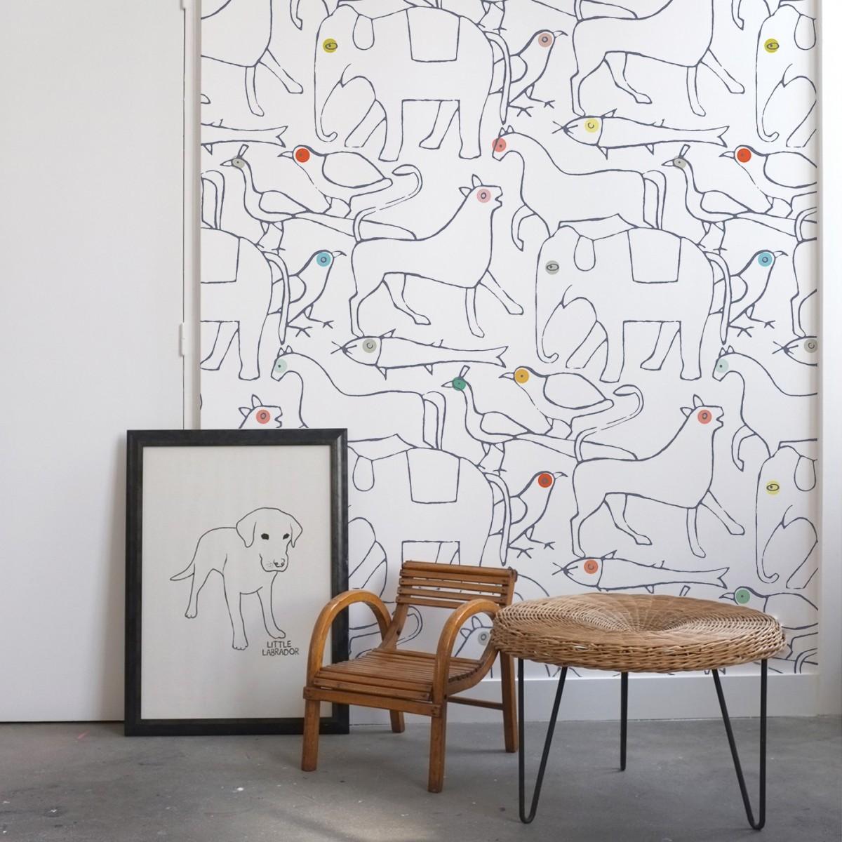 papier peint animals bien fait. Black Bedroom Furniture Sets. Home Design Ideas