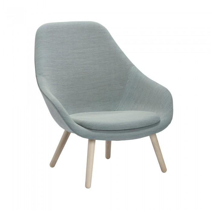 Aal92 High Armchair In Oak And Kvadrat Fabric Hay