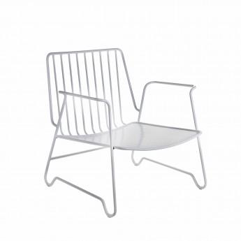LOUNGE white armchair with accotoir