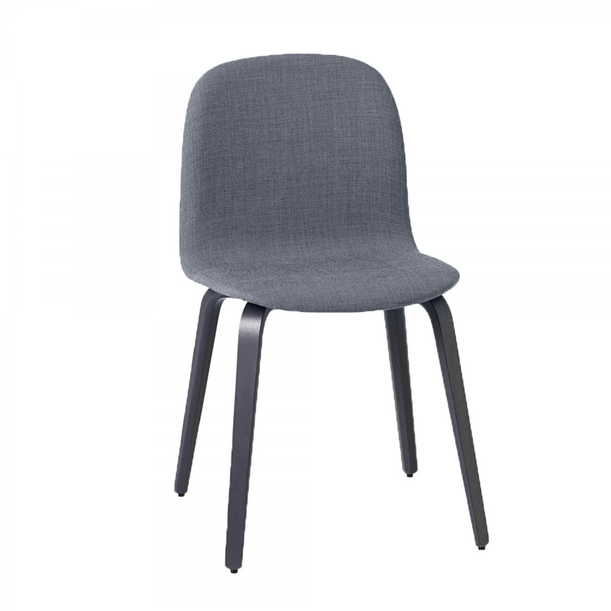 visu chair bluish dark fabric wood base muuto