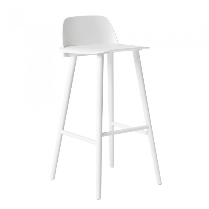 Nerd High Stool White In Oak Muuto