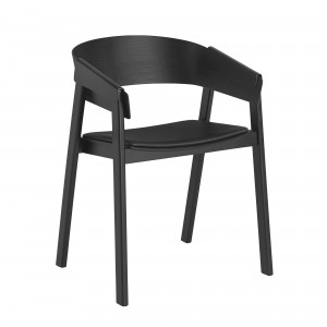 COVER chair leather black seat
