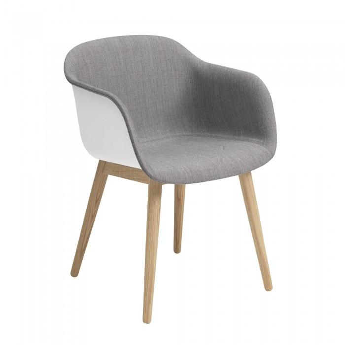 Fauteuil FIBER base bois - tapissée gris
