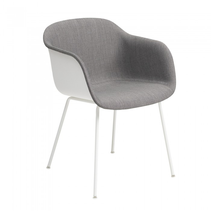FIBER armchair tube base - grey fabric