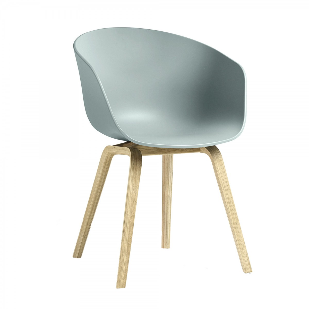 AAC 22 Dusty Blue Chair In Oak And Polypropylene Shell HAY