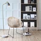 Fauteuil lounge en rotin noir et pieds métal