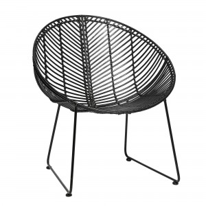Lounge armchair in black rattan with steel base