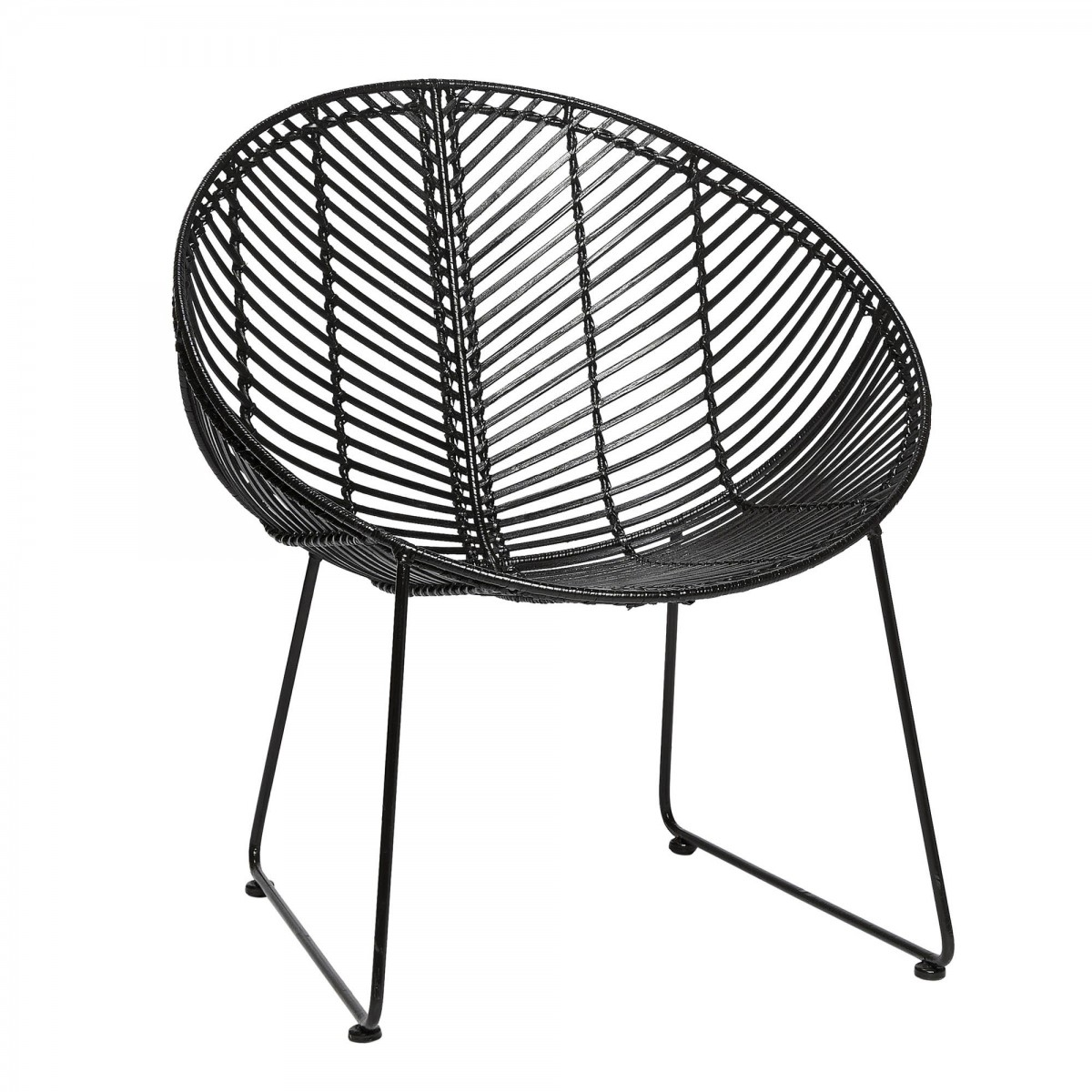 Lounge Armchair In Black Rattan With Steel Base H 220 Bsch