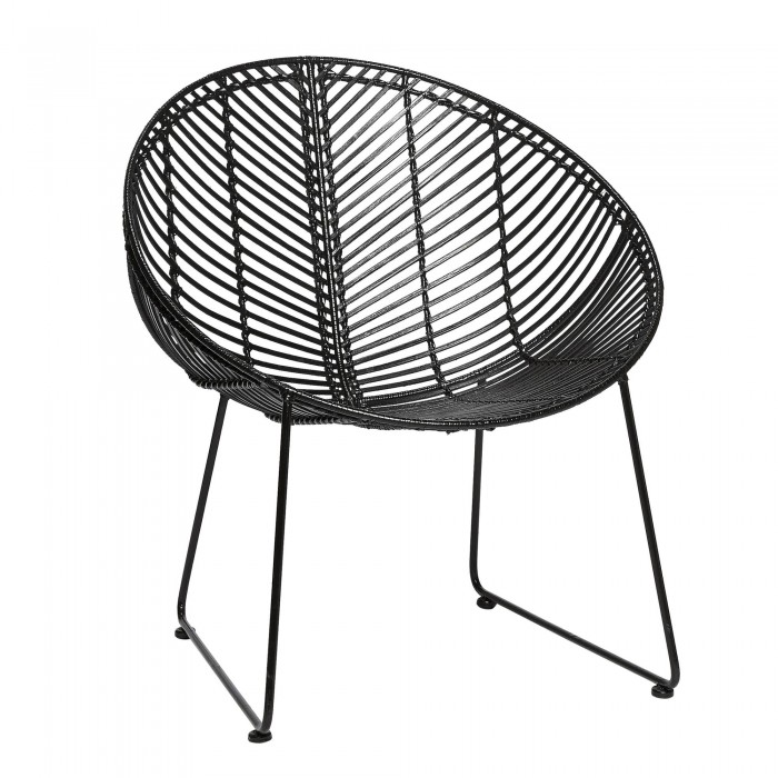 Lounge armchair in black rattan with steel base - HÜBSCH