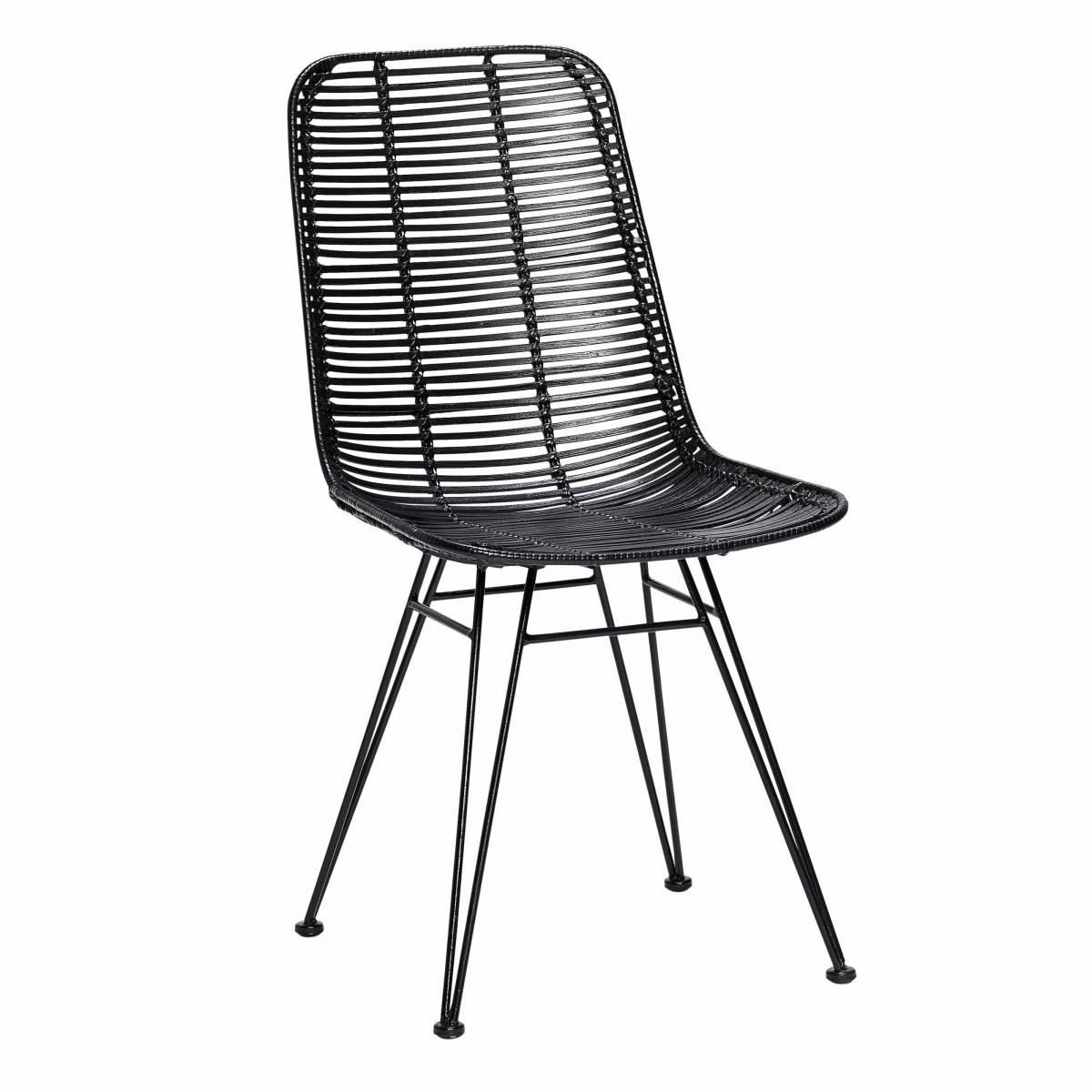 Chaise studio en rotin noir et pieds m tal h bsch for Chaise rotin moderne
