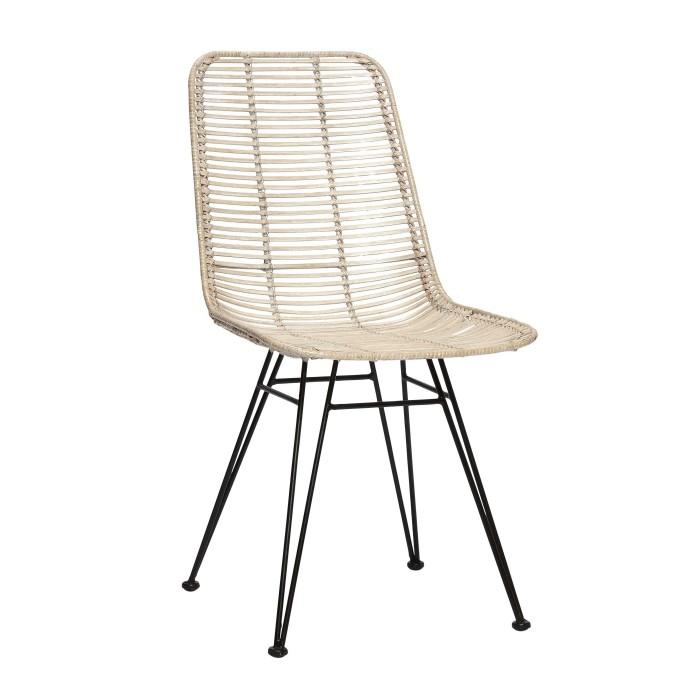 Chaise studio en rotin blanc et pieds m tal h bsch for Chaise en rotin et metal