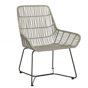 chaise en rotin gris et pieds m tal h bsch. Black Bedroom Furniture Sets. Home Design Ideas