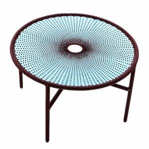 BANJOOLI coffee table L turquoise/brown