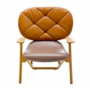 KLARA armchair with back leather/camel