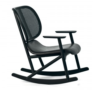 KLARA rocking armchair leather/black