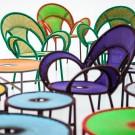 BANJOOLI armchair turquoise/brown