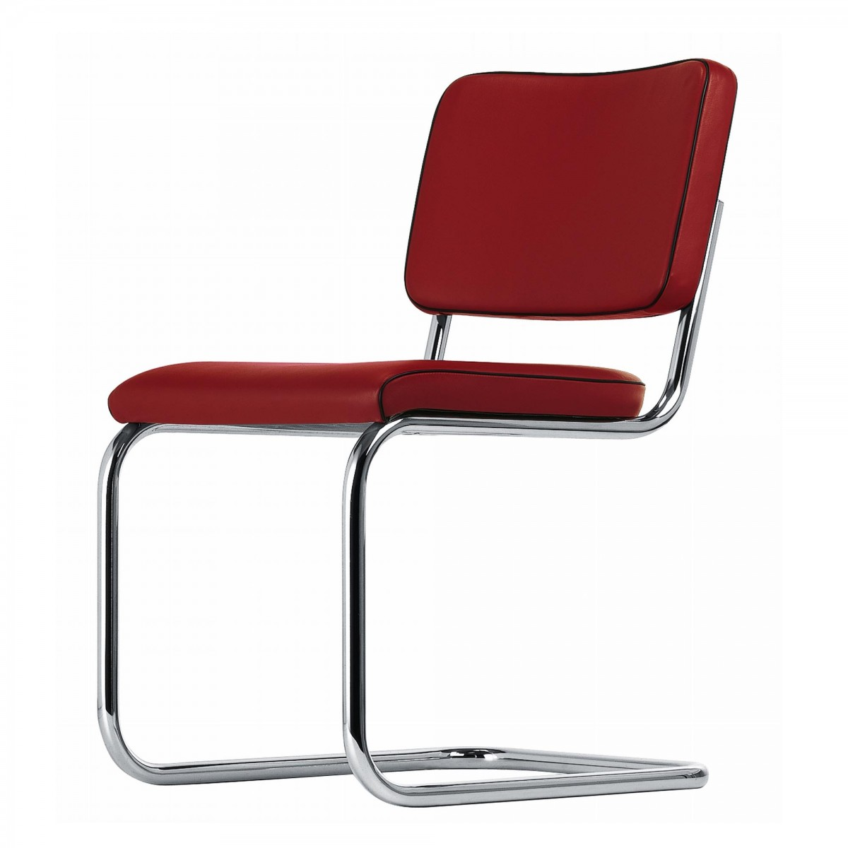 Chaise s32 pv en cuir rouge thonet for Chaise cuir rouge
