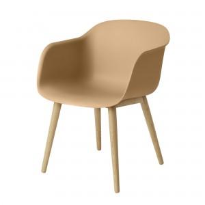 FIBER armchair wood base ochre