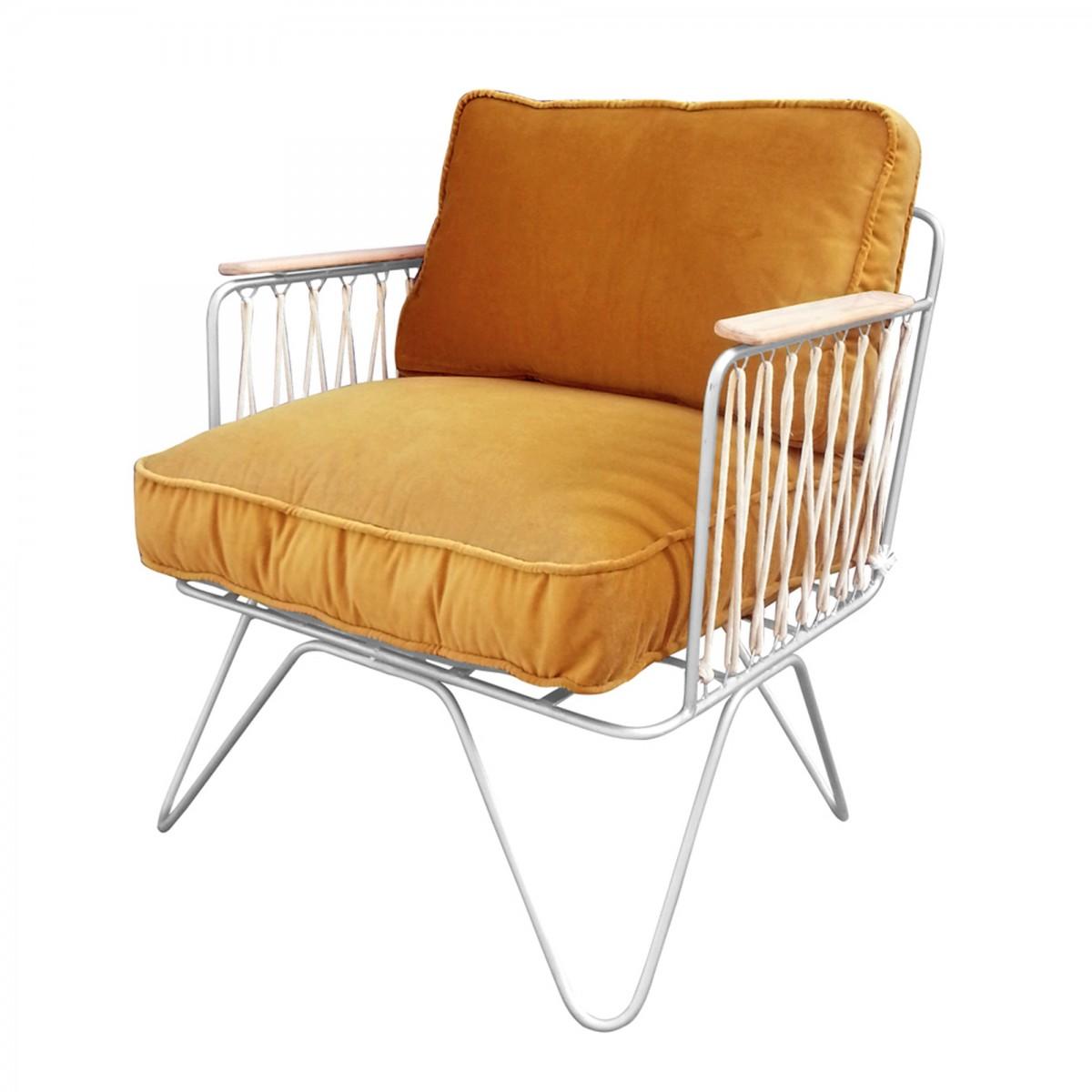 fauteuil croisette velours camel honore. Black Bedroom Furniture Sets. Home Design Ideas