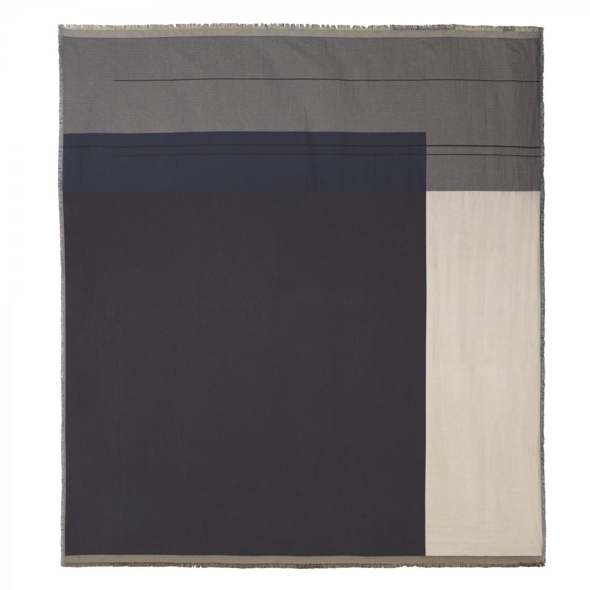 couverture de lit colour block gris en coton ferm living. Black Bedroom Furniture Sets. Home Design Ideas