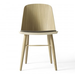 SYNNES chair natural oak and grey-brown leather