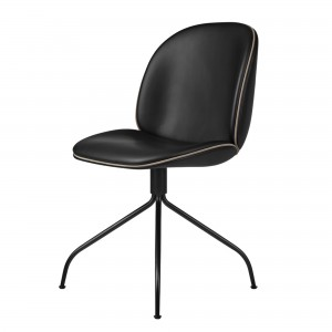 BEETLE swivel dining chair - black leather