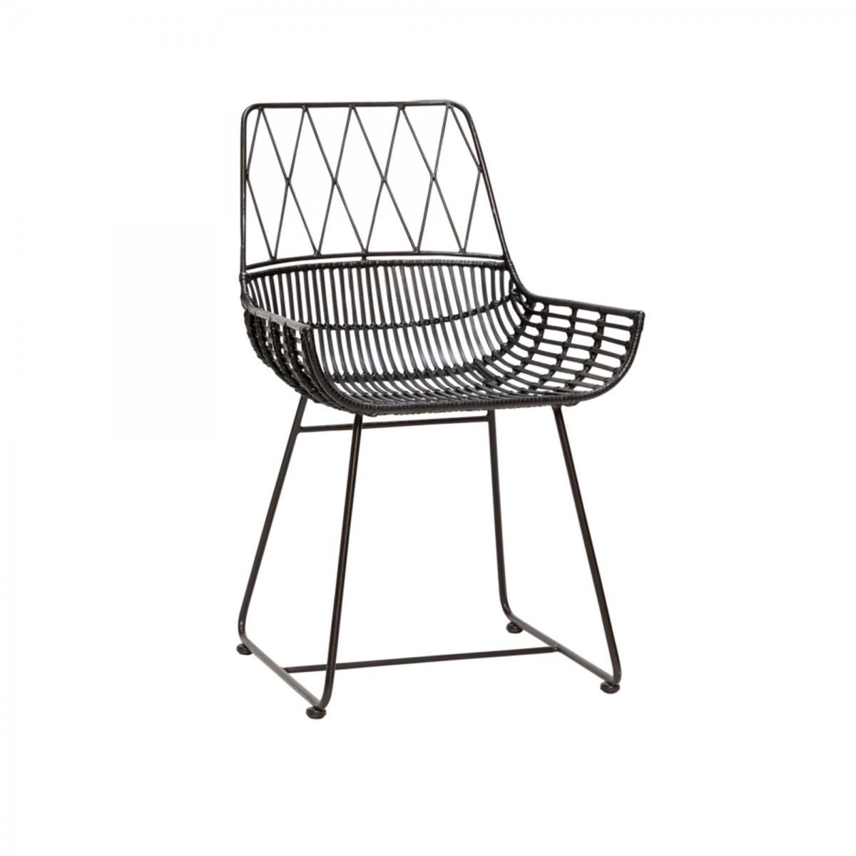 chair in black rattan h bsch. Black Bedroom Furniture Sets. Home Design Ideas