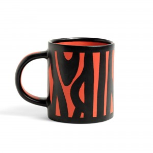 Wood mug bright red