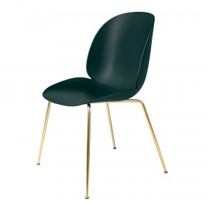 BEETLE dining chair - dark green/brass
