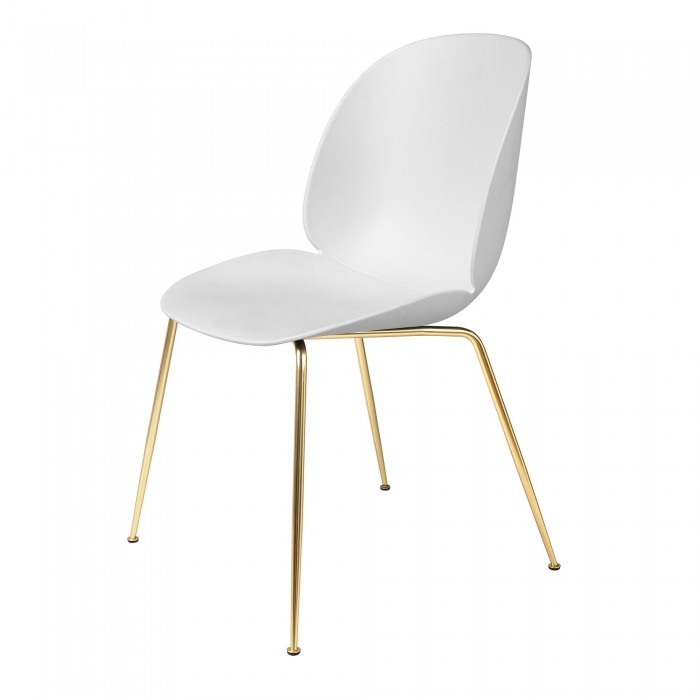 BEETLE dining chair - white/brass