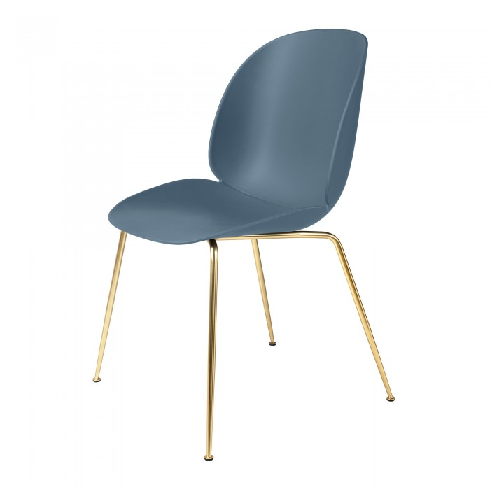 BEETLE dining chair - blue grey/brass
