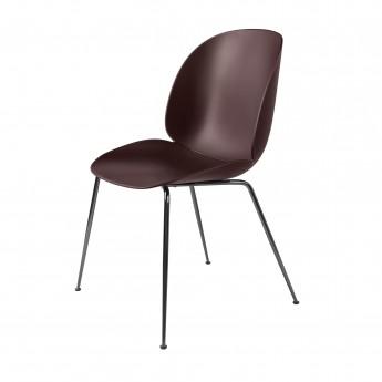 BEETLE dining chair - dark pink & black metal