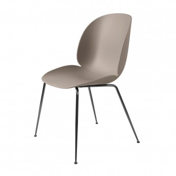 BEETLE dining chair - beige & black metal
