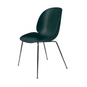 BEETLE dining chair - dark green & black metal