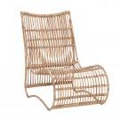 Chaise lounge en rotin naturel
