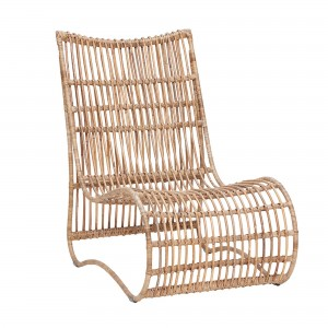 Chaise lounge en rotin naturel