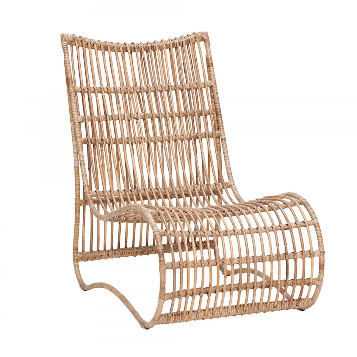 Lounge Chair In Natural Rattan