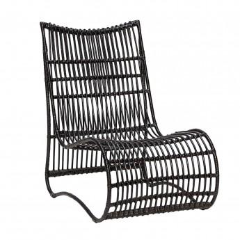 Chaise lounge en rotin noir