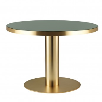 Table DINING 2.0 laiton ronde vert bouteille