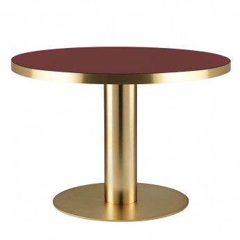 DINING 2.0 brass table round cherry red