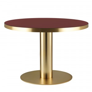 DINING 2.0 table brass and cherry red